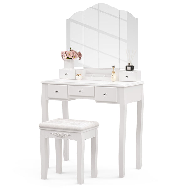 Mecor Vanity Set with Tri-Folding Edgeless Mirror and 5 Drawers, Makeup Dressing Table with Cushioned Stool for Girls Women, Solid Wood Legs, White