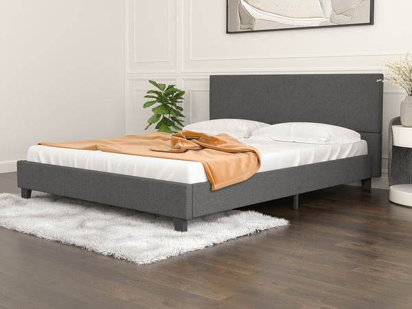 Mecor Upholstered Linen Platform Bed Frame, Mattress Foundation with Wooden Slats Support, No Box Spring Needed, Dark Grey, Queen