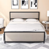 Mecor Metal Twin Platform Bed Frame/Nailhead Trim Upholstered Headboard Footboard, Sturdy Square Frame Support
