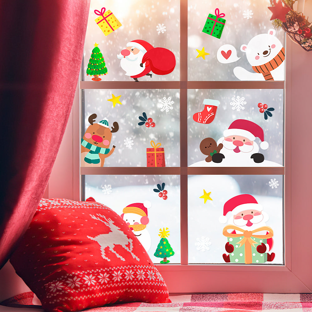 Christmas Decoration Stickers Window Glass Stickers Santa Claus Elk Scene Layout Colorful 8*16inch