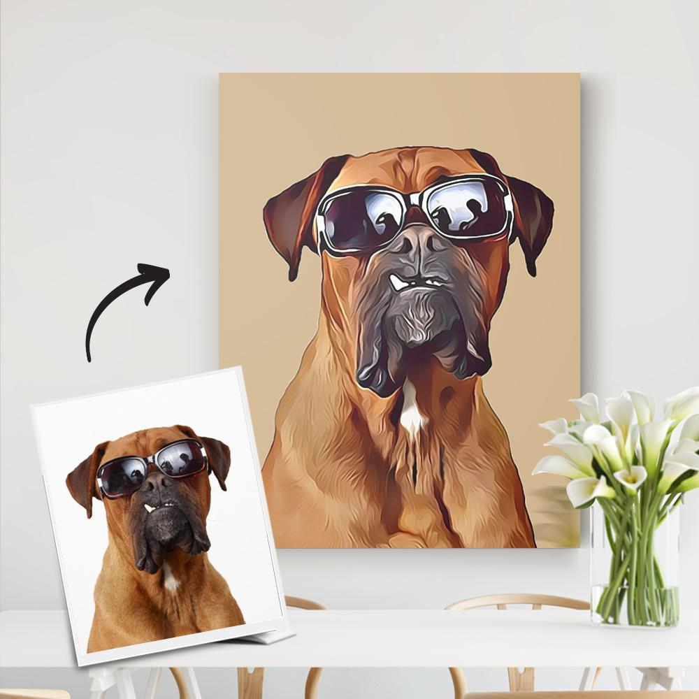 Custom Pet Canvas-Personalized Dog Portrait