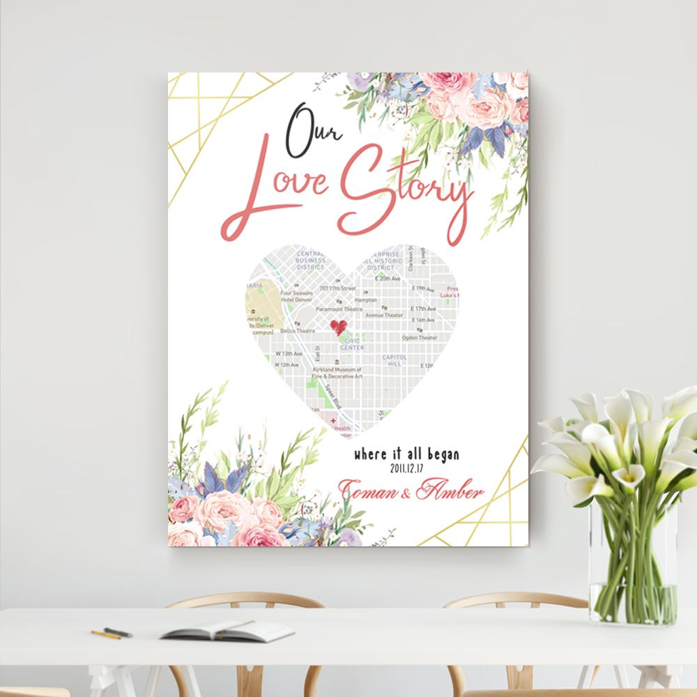 Wedding or Anniversary Gift for Couple, Wife or Husband - Special Dates and Heart Maps on Canvas
