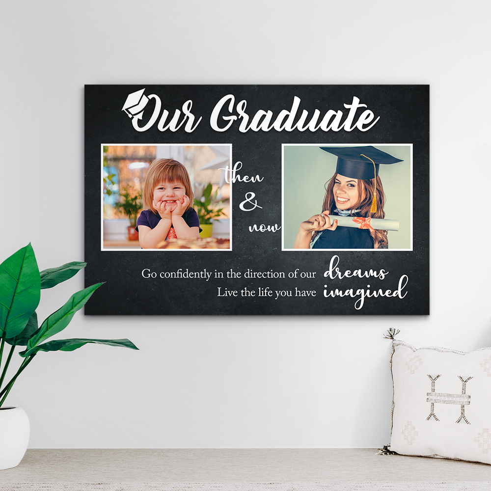 Custom Photo Canvas - 2020 graduation gift with 2 photos 12*8inch