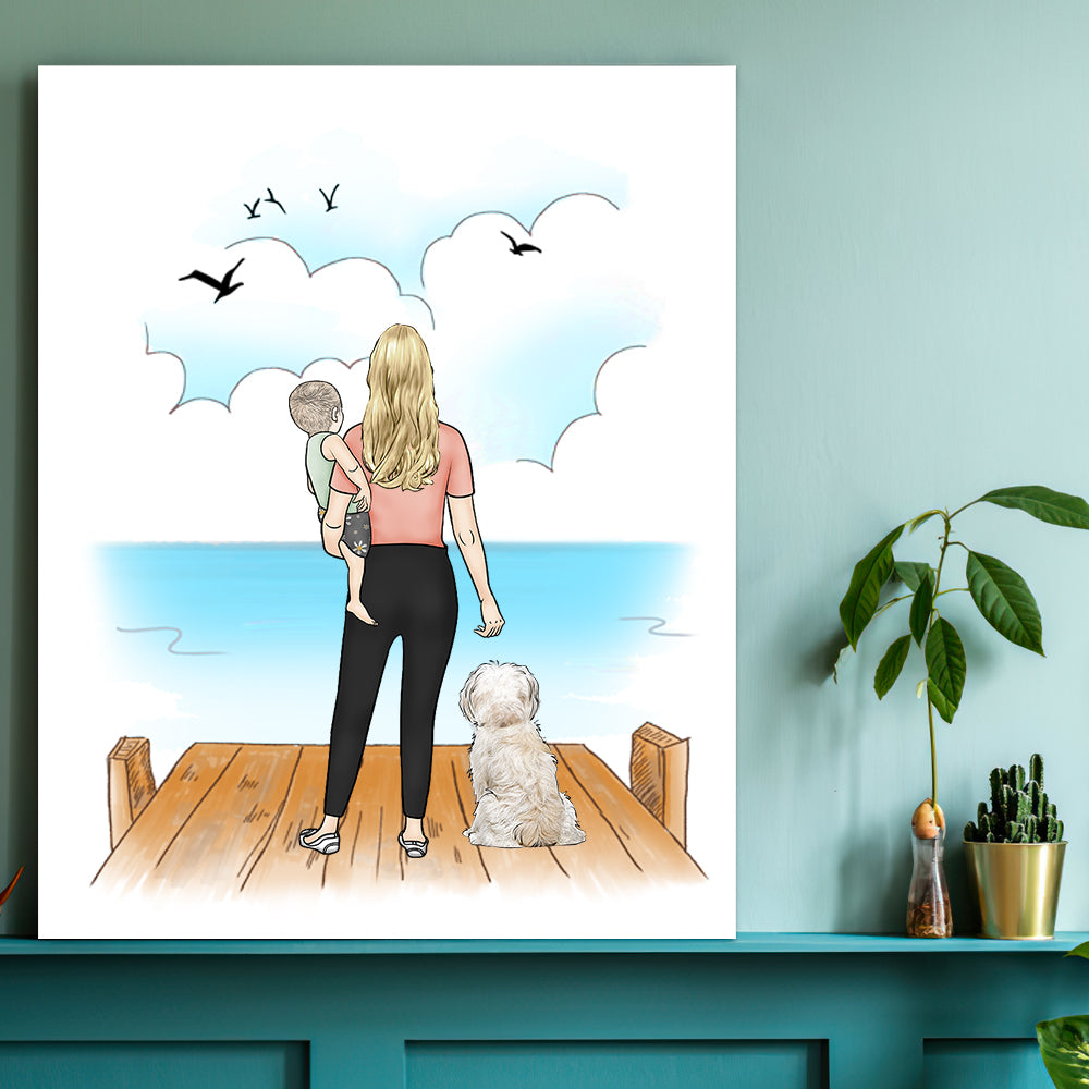 Personalized Vertical  CustomCanvas With Name - Love Family