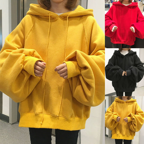 Women Long Sleeve Thick Warm Hooded Sweatshirt