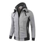Mens Double Zipper Fleece Hooded Jacket