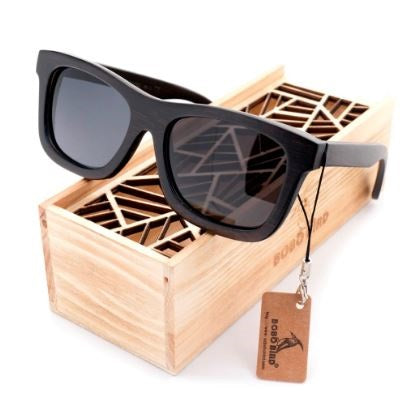 Original Wooden Men Woman Sunglasses Black Framed With Gift Box