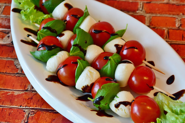 Caprese with our balsamic molasses reduction recipe