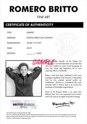 Certificate of Authenticity of Romero Britto Art