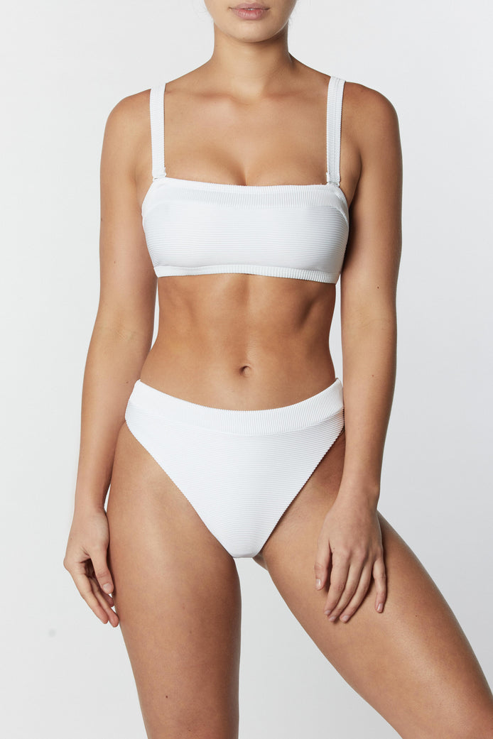 THE FRAME BANDEAU TOP - WHITE RIB