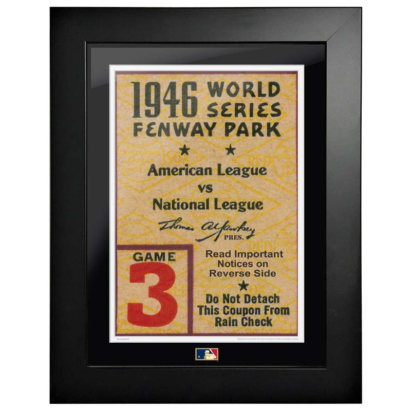 "12""x16"" World Series Ticket Framed Boston Red Sox 1946 G3C"