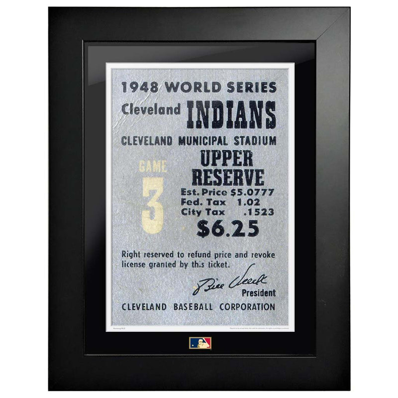 "12""x16"" World Series Ticket Framed Cleveland Indians 1948 G3L"
