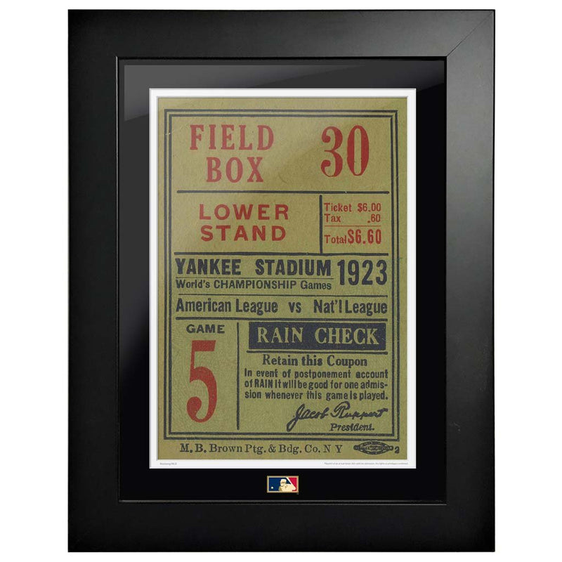 "12""x16"" World Series Ticket Framed New York Yankees 1923G5R"