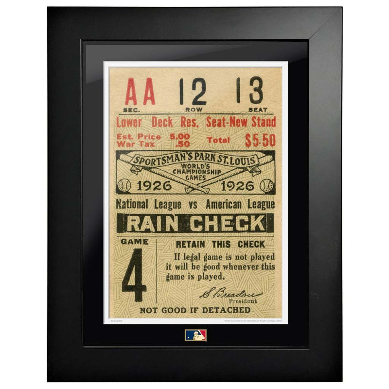 "12""x16"" World Series Ticket Framed St. Louis Cardinals 1926 G4R"