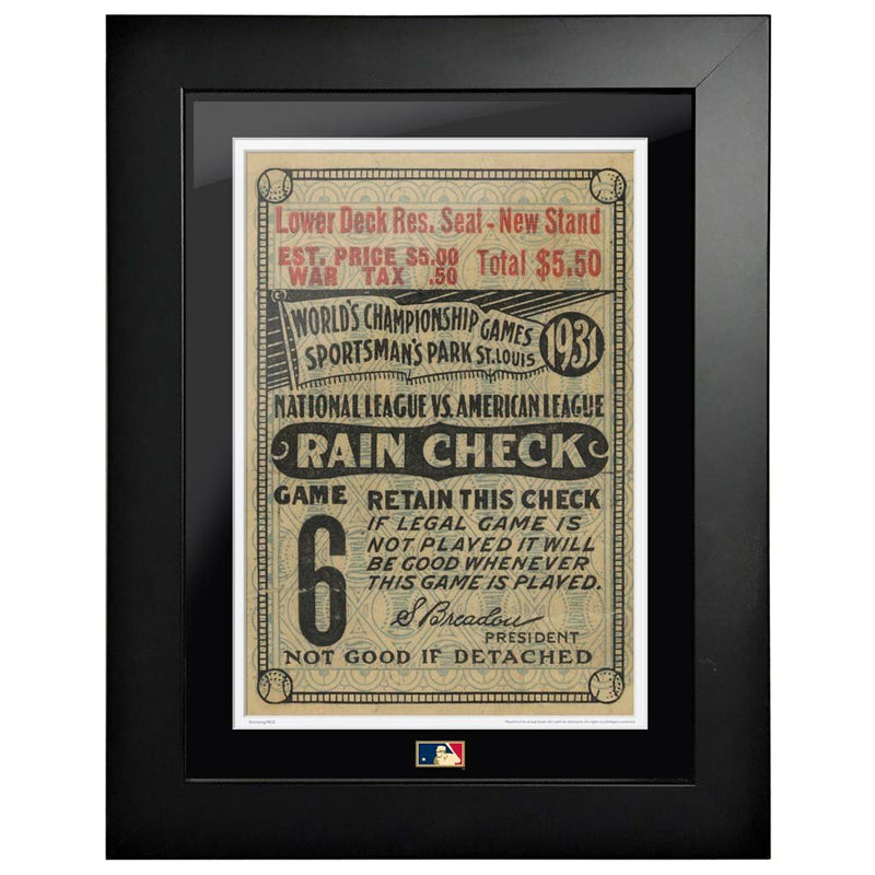 "12""x16"" World Series Ticket Framed St. Louis Cardinals 1931 G6L"