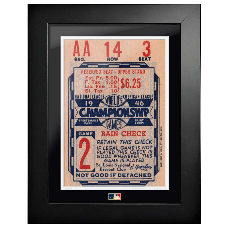 "12""x16"" World Series Ticket Framed St. Louis Cardinals 1946 G2R"