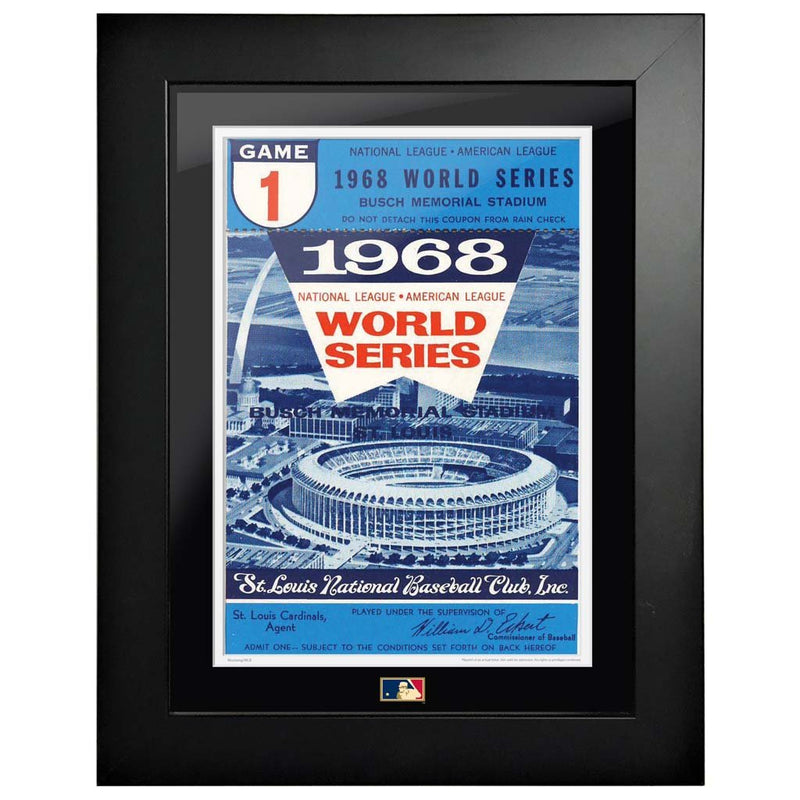 "12""x16"" World Series Ticket Framed St. Louis Cardinals 1968 G1C"