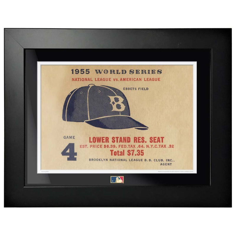 "12""x16"" World Series Ticket Framed Brooklyn Dodgers 1955 G4L"
