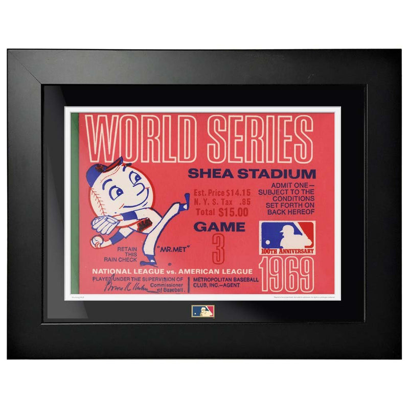 "12""x16"" World Series Ticket Framed New York Mets 1969 G3L"