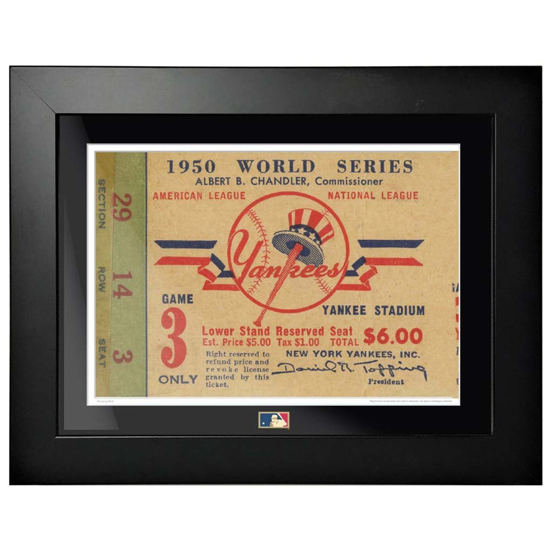 "12""x16"" World Series Ticket Framed New York Yankees 1950 G3L"