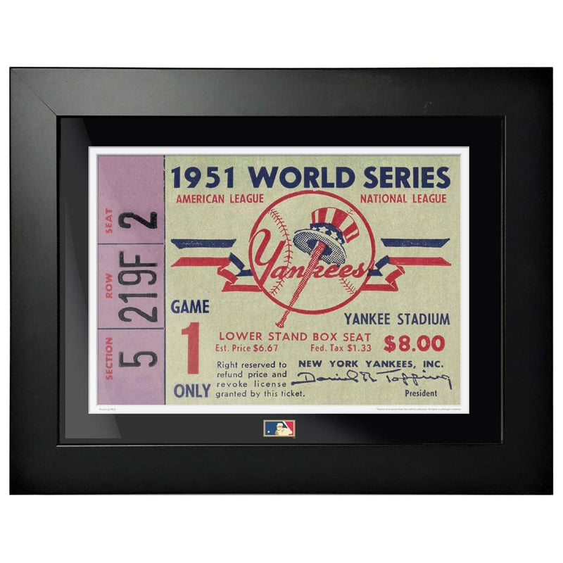 "12""x16"" World Series Ticket Framed New York Yankees 1951 G1L"