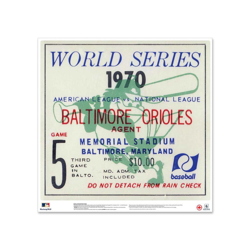 "24"" Repositionable W Series Ticket Baltimore Oriels Centre 1970G5C"