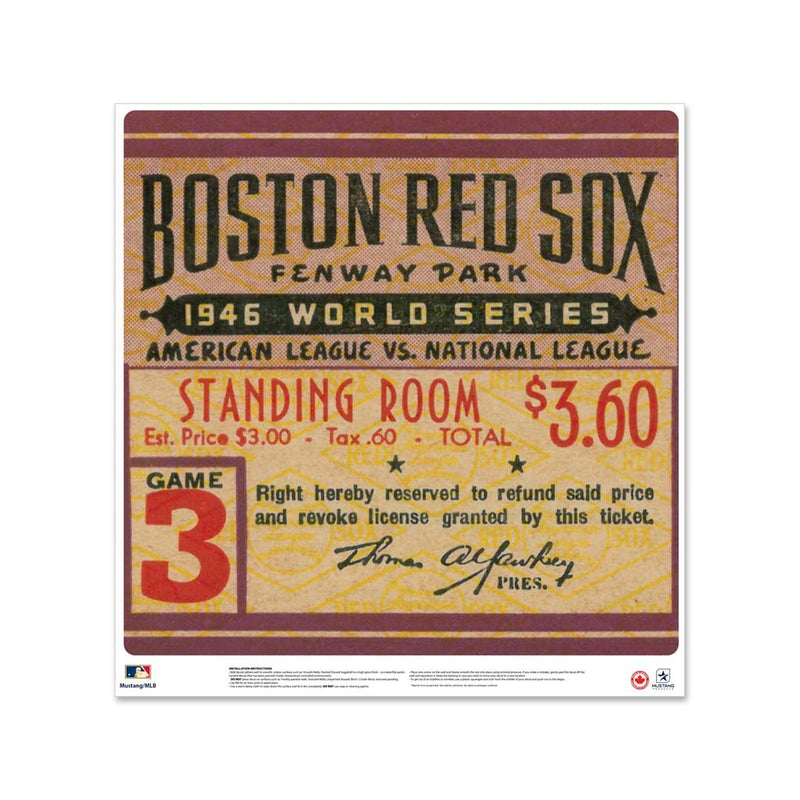 "24"" Repositionable W Series Ticket Boston Red Sox Left 1946G3L"