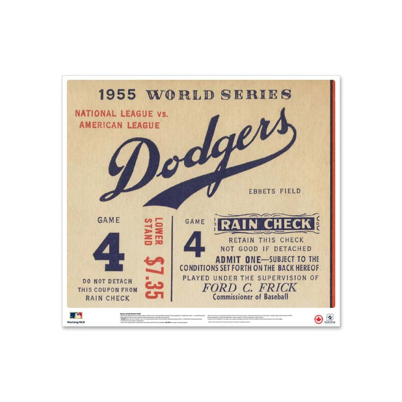 "24"" Repositionable W Series Ticket Brooklyn Dodgers Left 1955G4L"