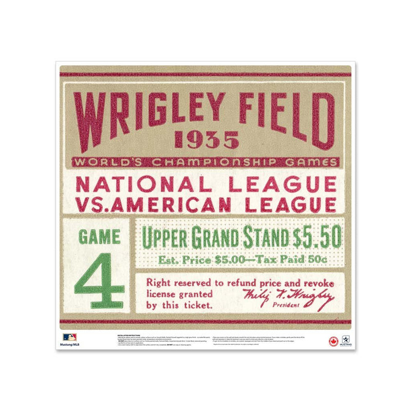 "24"" Repositionable W Series Ticket Chicago Cubs Left 1935G4L"
