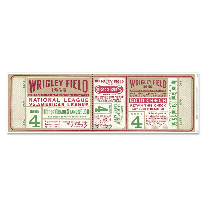 "Chicago Cubs 1935 Game 4 World Series Ticket 72"" Repositional Vinyl"