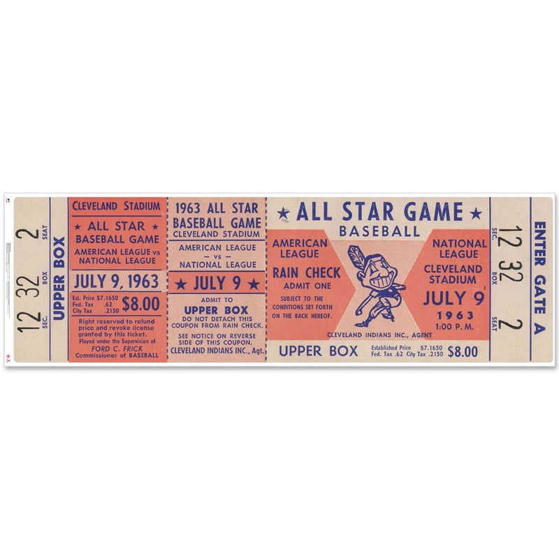 "48"" Repositional All Star Game Ticket - Cleveland 1963"