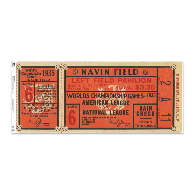 "24"" Repositionable W Series Ticket Detroit Tigers 1935G6"