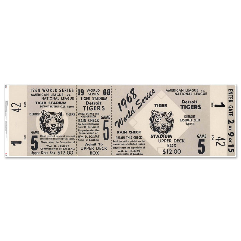 "Detroit Tigers 1968 Game 5 World Series Ticket 48"" Repositional Vinyl"