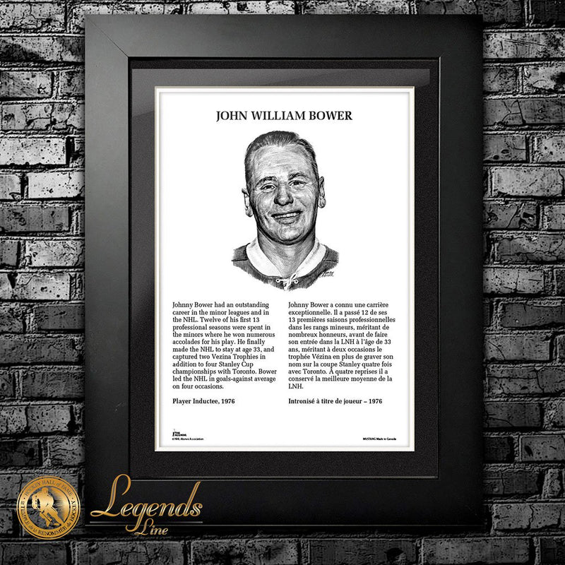 1976 Johnny Bower - Legends 12x16 Frame