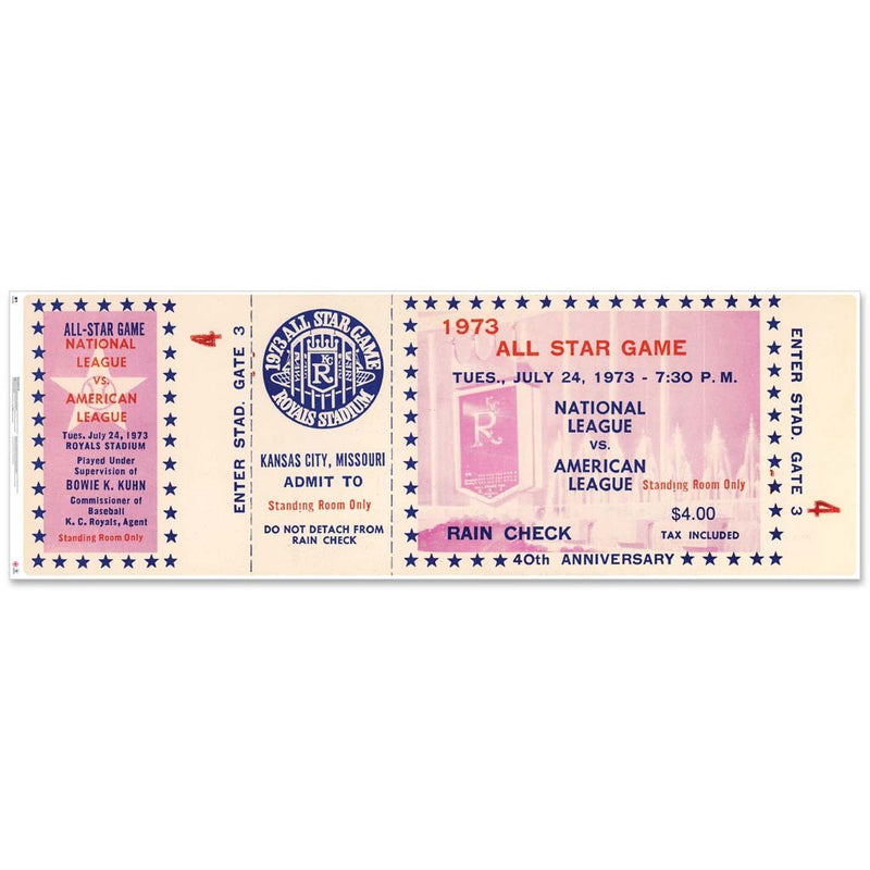"48"" Repositional All Star Game Ticket - Kansas City 1973"