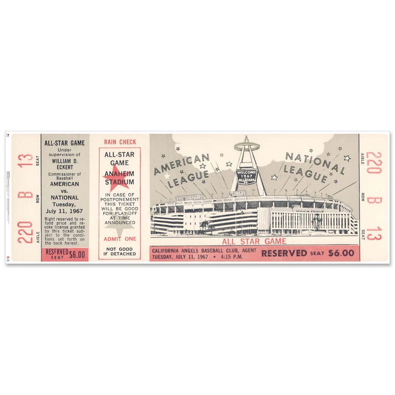 "48"" Repositional All Star Game Ticket - Los Angeles 1967"