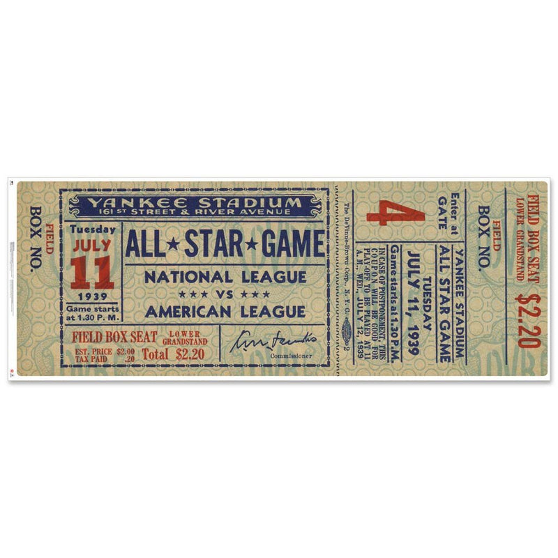 "48"" Repositional All Star Game Ticket - New York 1939"