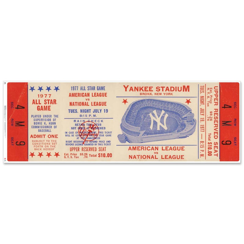 "48"" Repositional All Star Game Ticket - New York 1977"