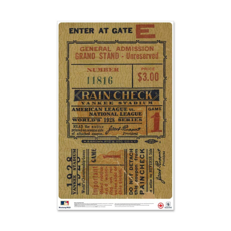 "24"" Repositionable W Series Ticket New York Yankees Right 1928G1R"