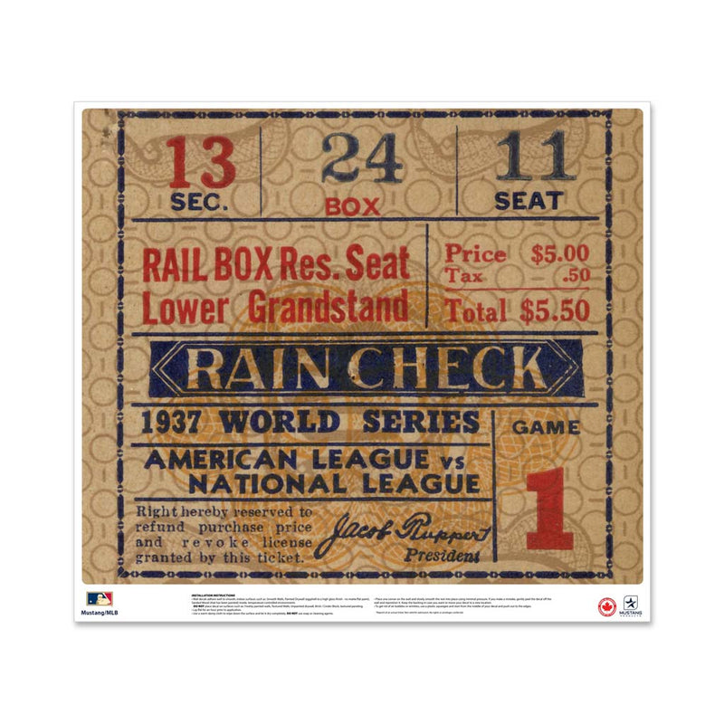 "24"" Repositionable W Series Ticket New York Yankees Left 1937G1L"