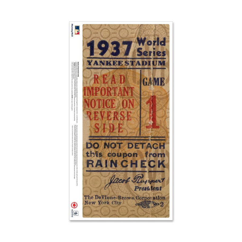 "24"" Repositionable W Series Ticket New York Yankees Right 1937G1R"