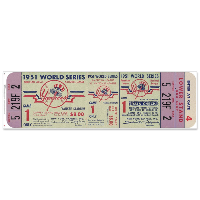 "New York Yankees 1951 Game 1 World Series Ticket Ticket 48"" Repositional Vinyl"