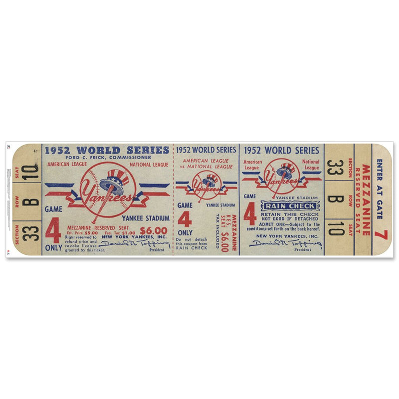 "New York Yankees 1952 Game 4 World Series Ticket Ticket 72"" Repositional Vinyl"