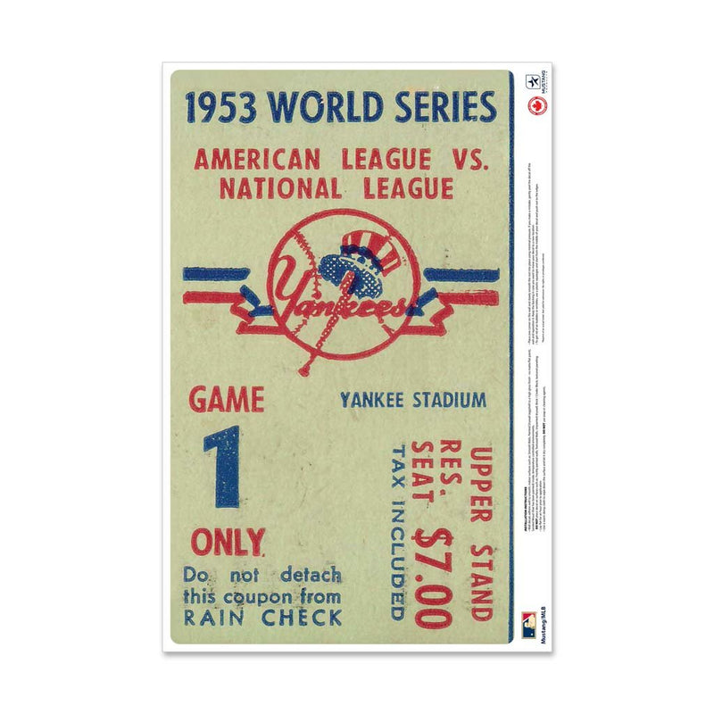 "24"" Repositionable W Series Ticket New York Yankees Centre 1953G1C"