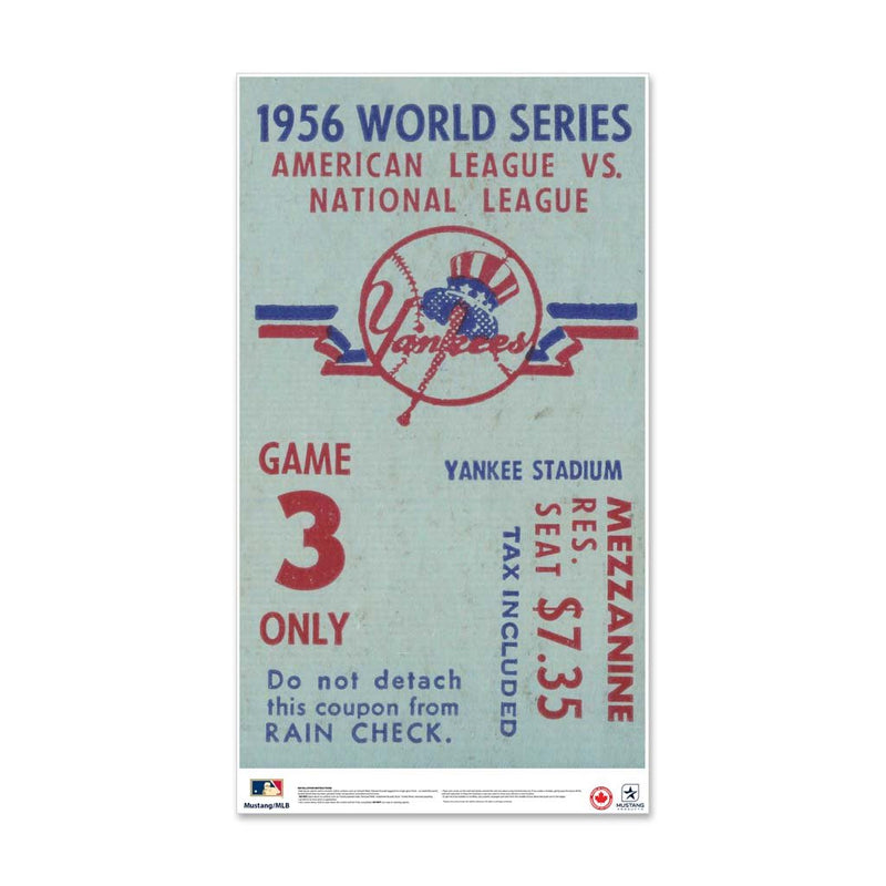 "24"" Repositionable W Series Ticket New York Yankees Centre 1956G3C"