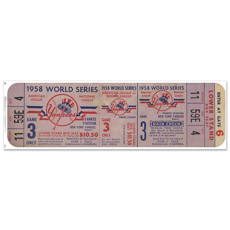 "New York Yankees 1958 Game 3 World Series Ticket Ticket 72"" Repositional Vinyl"