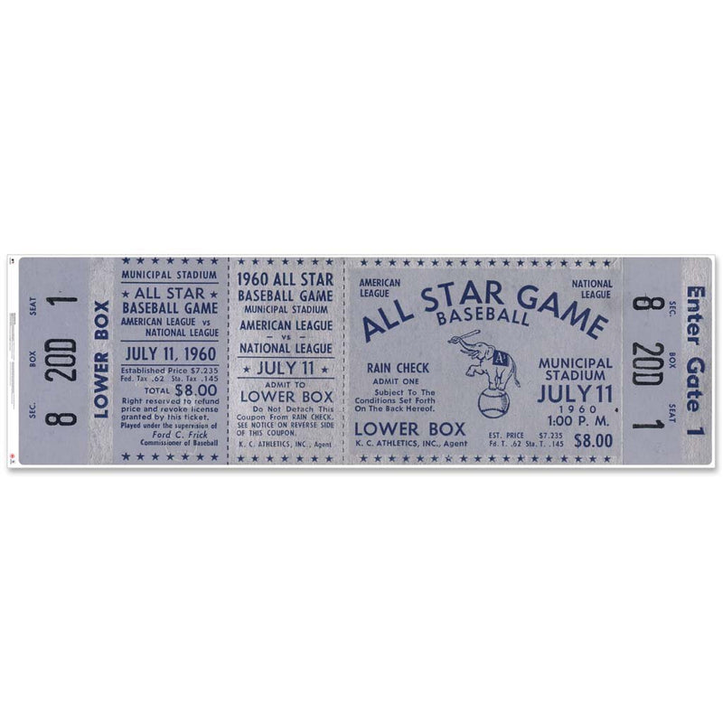 "48"" Repositional All Star Game Ticket - Oakland 1960"
