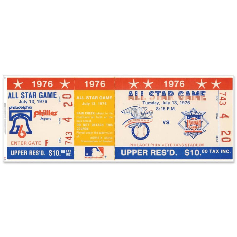 "48"" Repositional All Star Game Ticket - Philadelphia 1976"