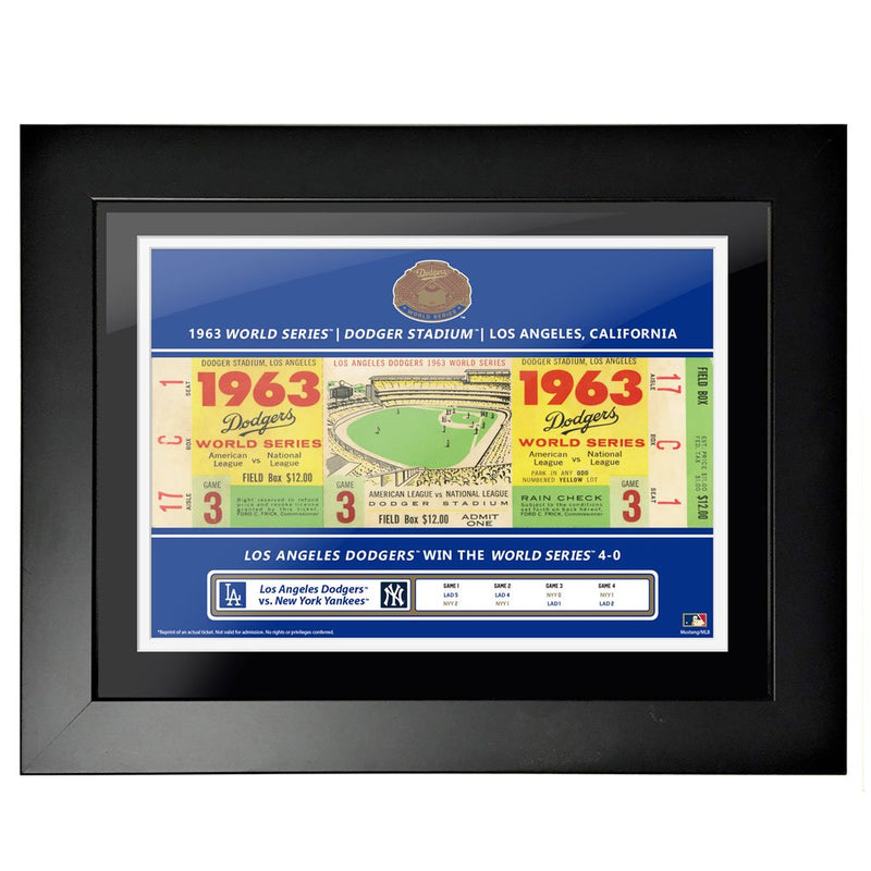 "12""x16"" World Series Ticket Framed La Dodgers 1963 G3"