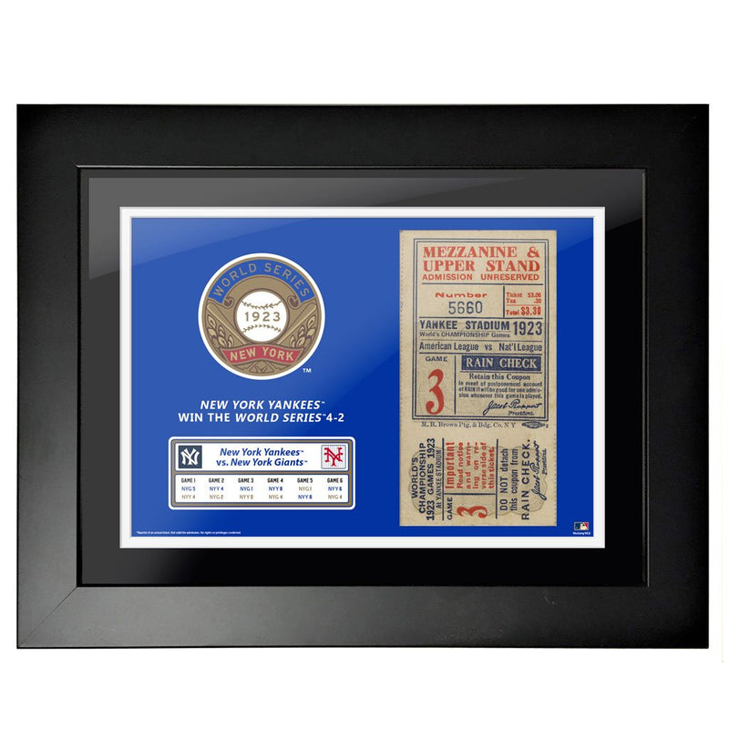 "12""x16"" World Series Ticket Framed New York Yankees 1923 G3"